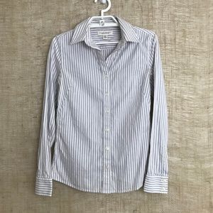 White & Gray Non-Iron Fitted Stretch Button Down